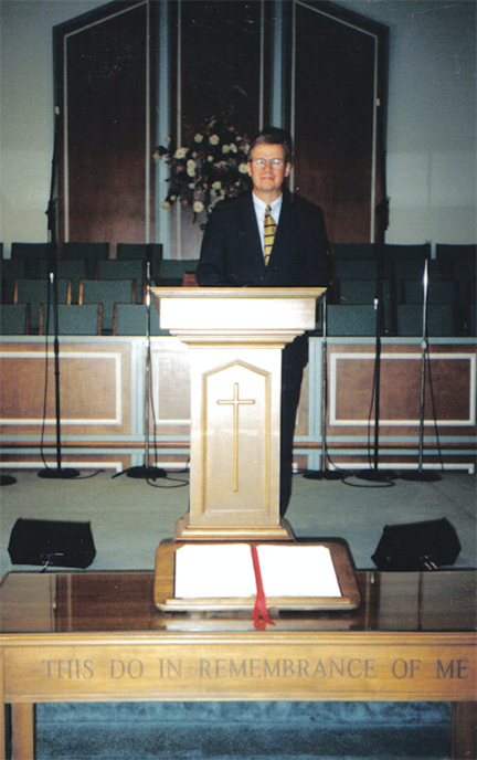 This is dad in the pulpit at Woodmont. No idea what he was posing for here...