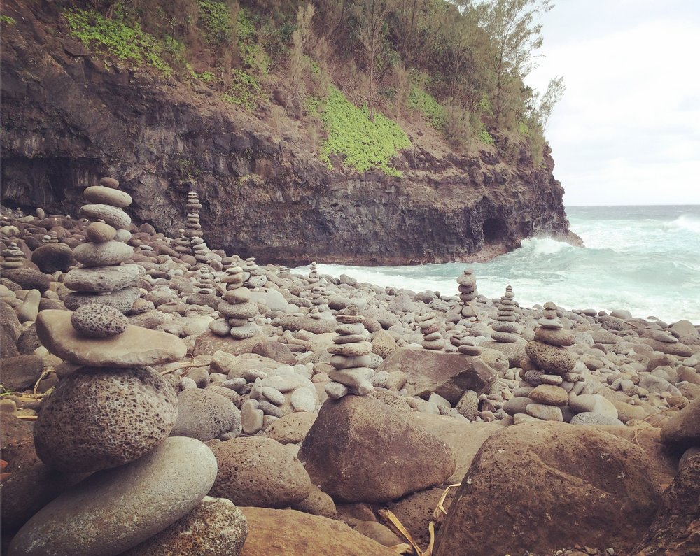 a million cairns at the beach 2 miles in past the stream crossing. still not sure of these ones specific meaning