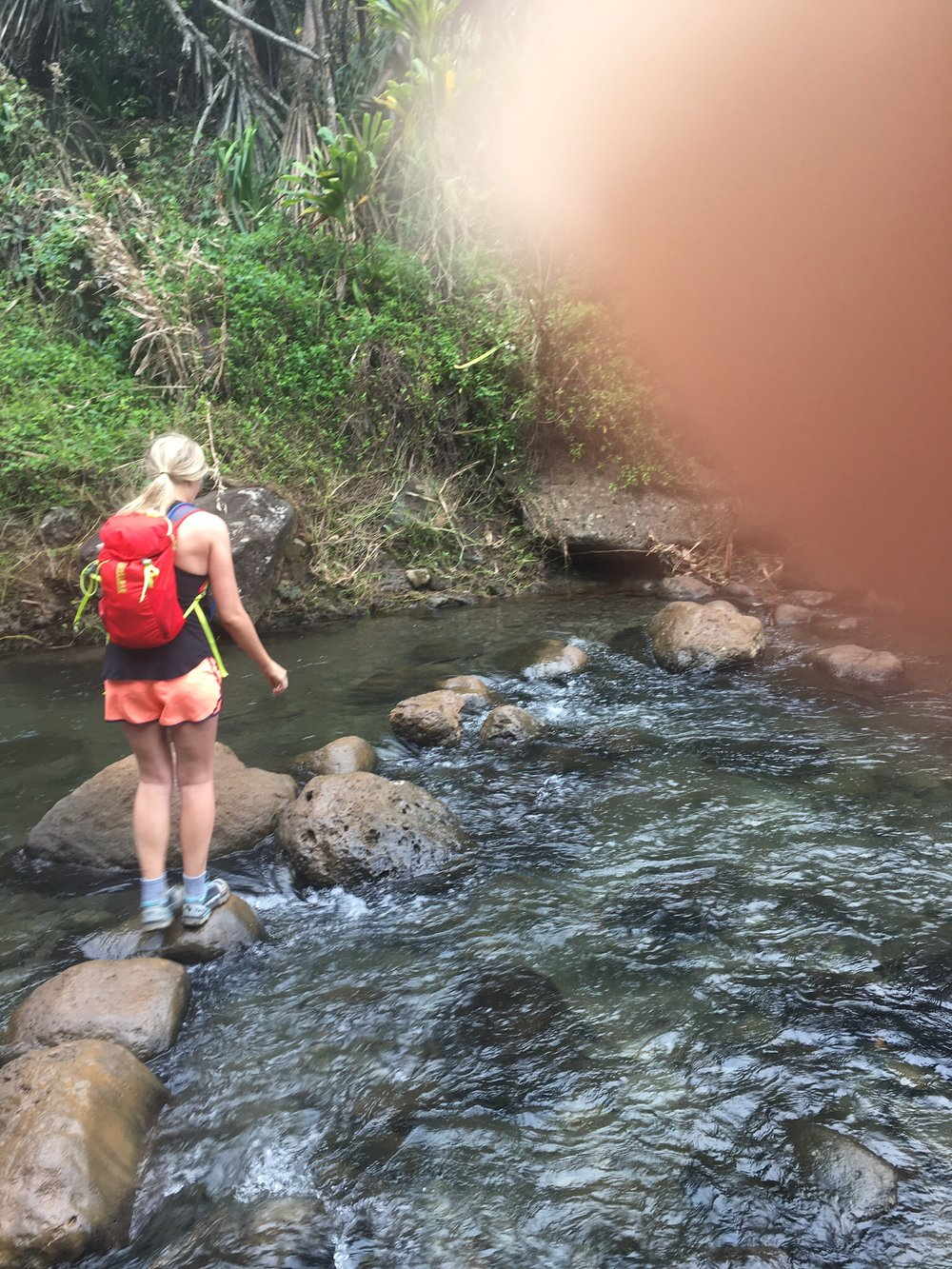 the only picture of either of us crossing the stream. this portion of the trail is no joke