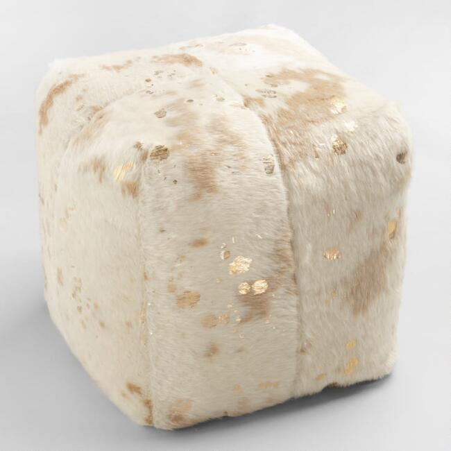 World Market Gold Printed Faux Cowhide Pouf.jpg