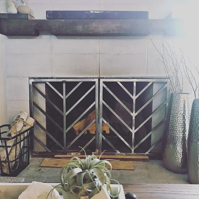new #diy in progress! 👩🏼‍🎨👨🏼‍🔧 we're working on building a custom fireplace screen that fits snuggly inside the fireplace 🔥 welding is ✅ next up, adding the screen, powder coating, & hanging from the inside of the fireplace! we'll add the how-to on the blog once we're finished! #wip