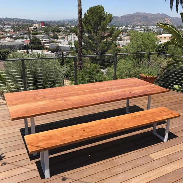 Reclaimed Wood Dining Table And Bench #danishdesign #interiordesign  #silverlake #losangeles #dinigtable