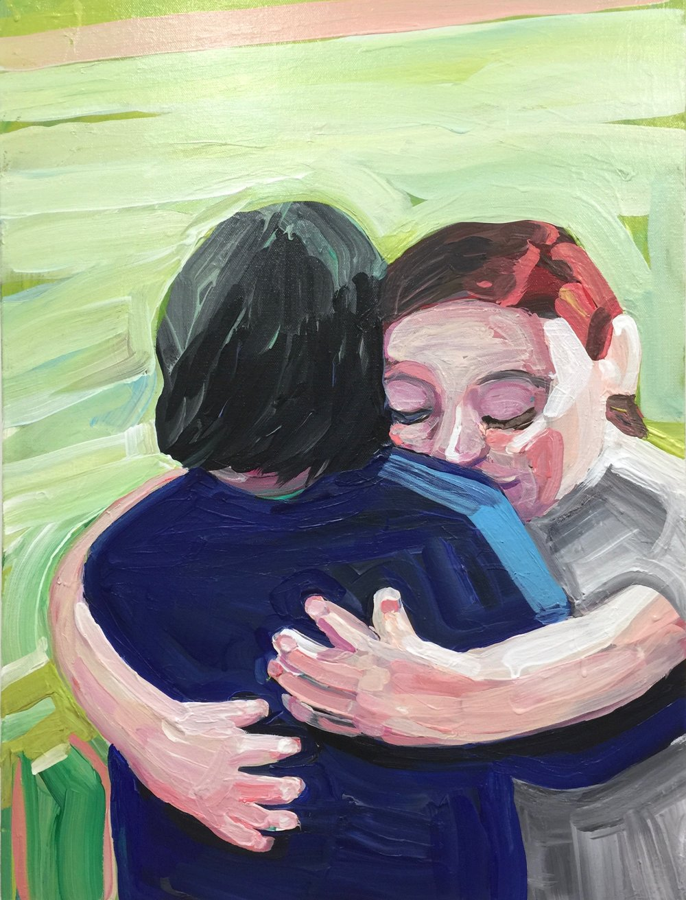 "Sister Hug (2017), Acrylic on canvas, 24"" x 18"""