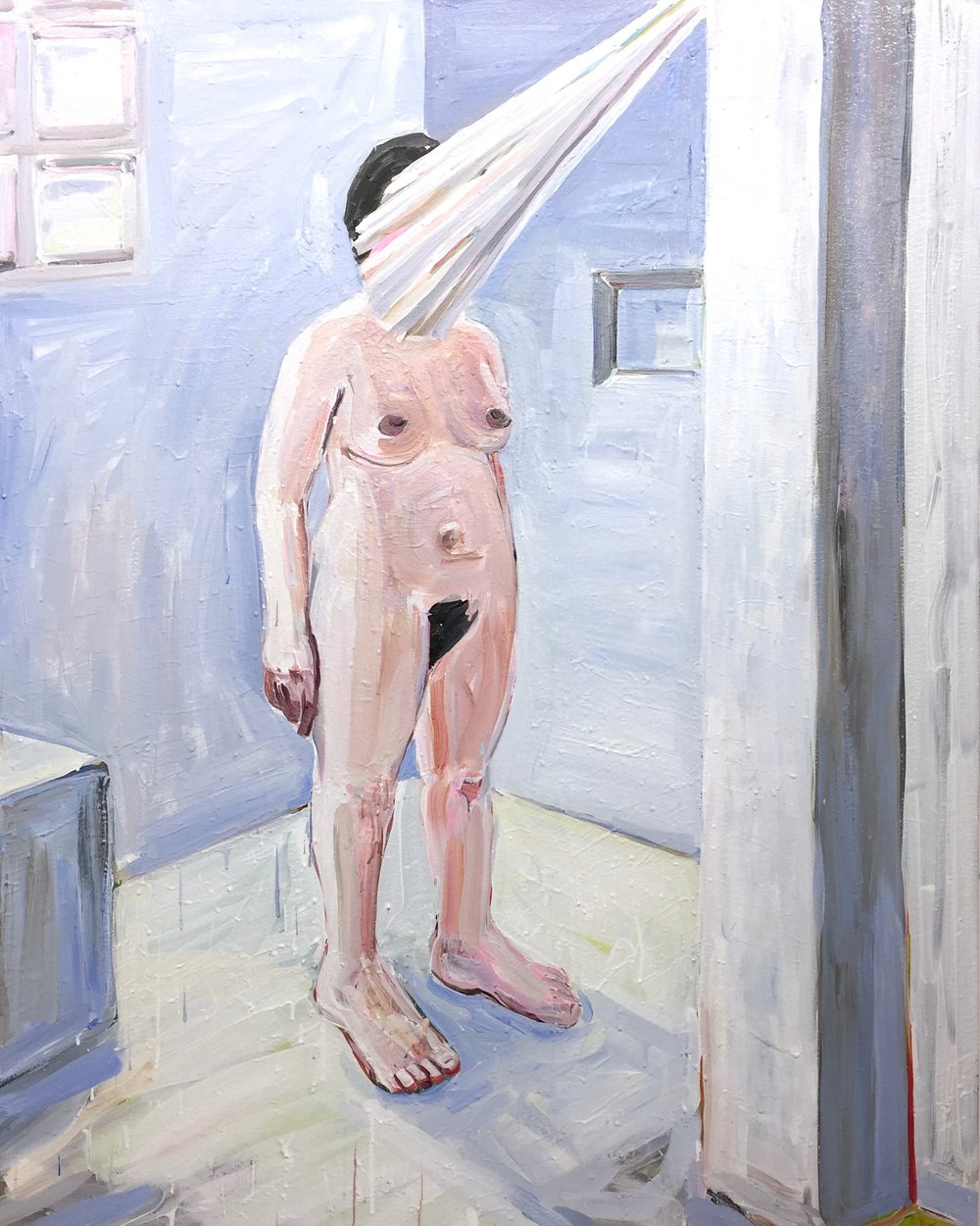 "Showertime  (2017), Acrylic on canvas, 60"" x 48"""