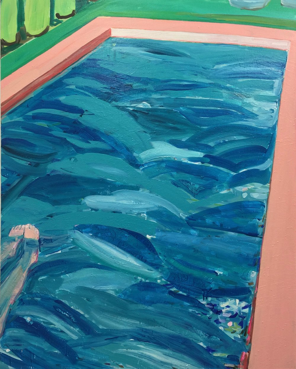 "Pool with Mom Feet (2017), Acrylic on canvas, 60"" x 48"""