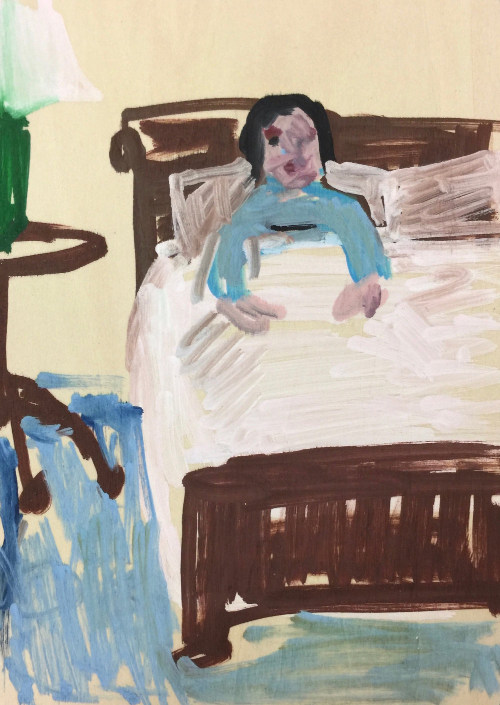 "Mom in Bed in the Morning  (2017), Acrylic on panel, 7"" x 5"""