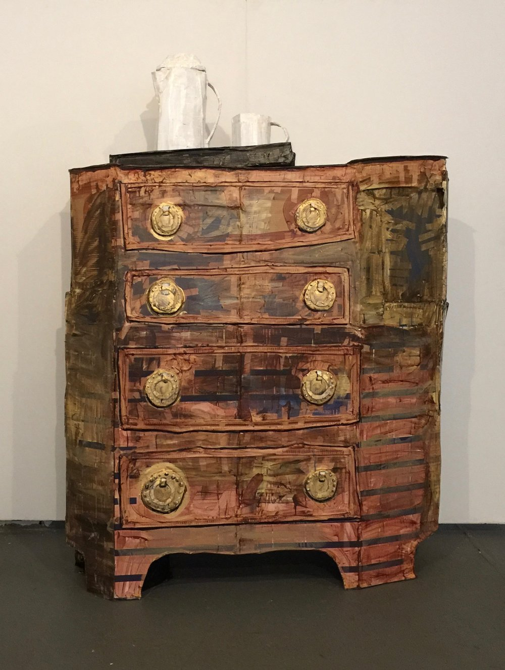 "Chest of Drawers with Serving Tray (2017), Acrylic on cardboard and masking tape, 90"" x 36"" x 29"""