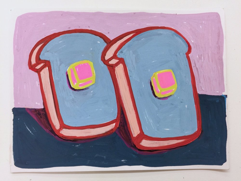 "Bread & Butter Light Blue with Pink Butter , Acrylic on paper, 5"" x 7"", 2016"