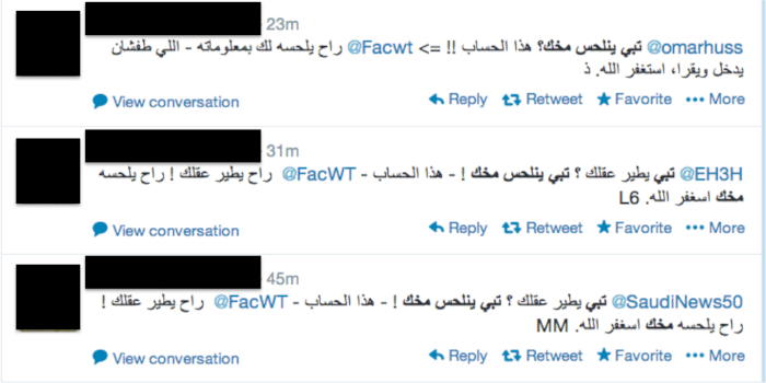 Example of the most popular Arabic spam campaign on Twitter in 2013