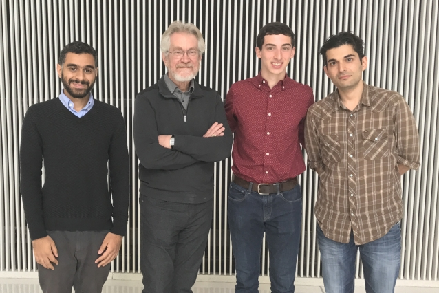 "(l-r) Abdullah Almaatouq, Alex ""Sandy"" Pentland, Daniel Rigobon, and Eaman Jahani. Team members not pictured: Yoshihiko Suhara, Khaled Al-Ghoneim, and Abdulaziz Alghunaim."