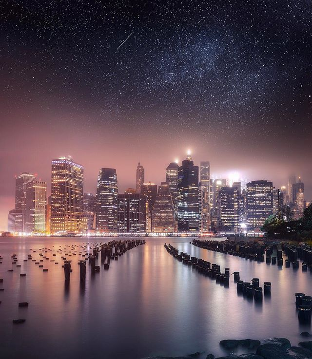 I figured I'd try something a little different with this one here. This is a composite shot I took from Brooklyn Bridge Park. The photo consists of 2 exposures: 1 exposure for the water; 1 exposure for the skyline—plus an entirely separate image for the stars. The image is focus-stacked as well. I use my camera's live-view function to pinpoint precisely where it is I want to focus (for each exposure). Live-view is key for when shooting from a tripod because it nullifies the potential for camera shake, due to the internal mirror already being in the 'up' position. So for the foreground, for example, I'll set my aperture to the 'sweet spot' where my lens is the sharpest—I believe here it was f/8—then I'll zoom-in on and focus directly on one of the pylons. Then for the 2nd exposure, I'll focus on one of the buildings in the background (again at f/8 for maximum sharpness. Every lens is different and has its own 'sweet spot'). And finally, I will blend the exposures in Photoshop using luminosity masks. Hopefully this information ends up being of value to someone. 🤷🏼‍♂️🙂 ——————— #moodygrams #brooklyn #citykillerz #illgrammers #createcommune #manhattan #iloveny #agameoftones #urbanromantix #streetmobs #weekly_feature #urbangathering #withmytamron #visualambassadors #artofvisuals #aov5k #uncalculated #eclectic_shotz #shotzdelight #longexpoelite #longexposure_shots #nightshooters #nycprimeshot #way2ill #loves_nyc #amazing_longexpo #gramslayers #seeyourcity #newyork_instagram #picturesofnewyork