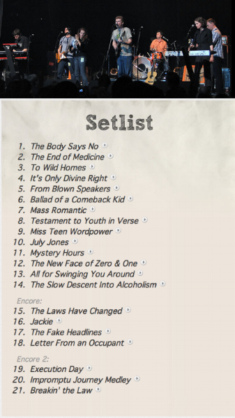 The setlist from the concert that night.