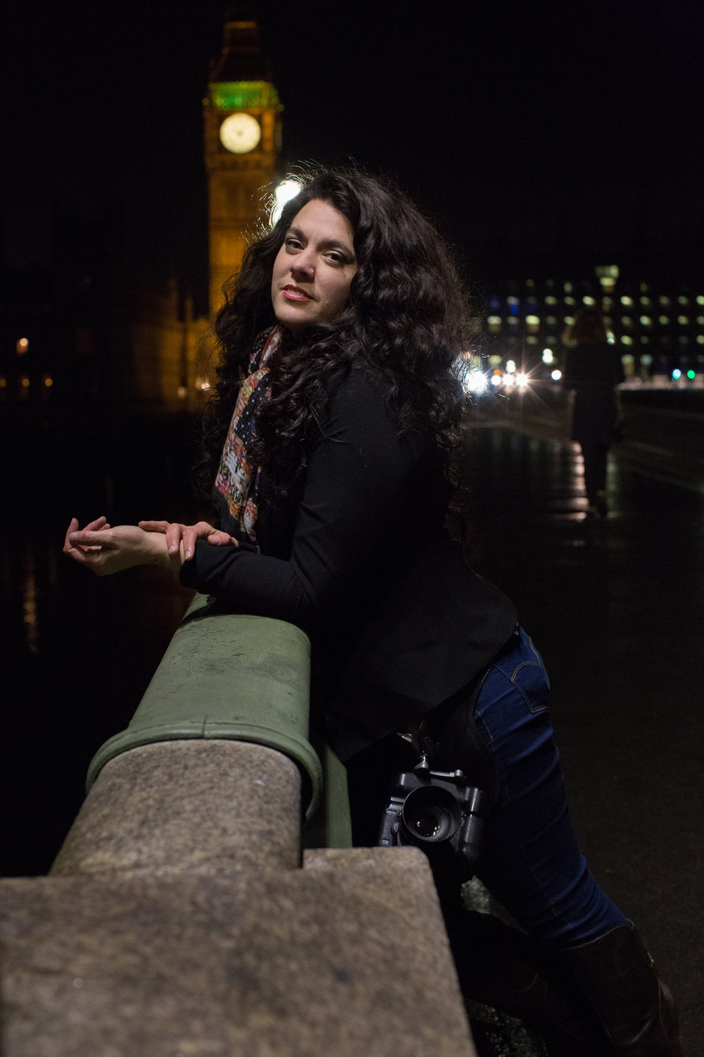 Cat Ford-Coates, Portrait Photographer.  Image courtesy of Corinne Hunsicker of Silverbox Creative Studios taken on the Westminster Bridge in London