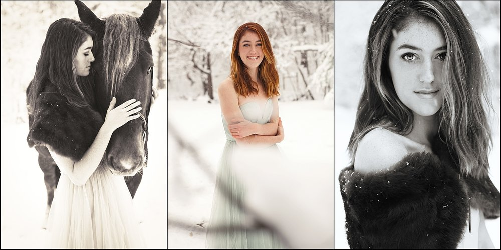 photo snoot in the snow - western nc - a girl and her horse - photo shoot on a farm in NC