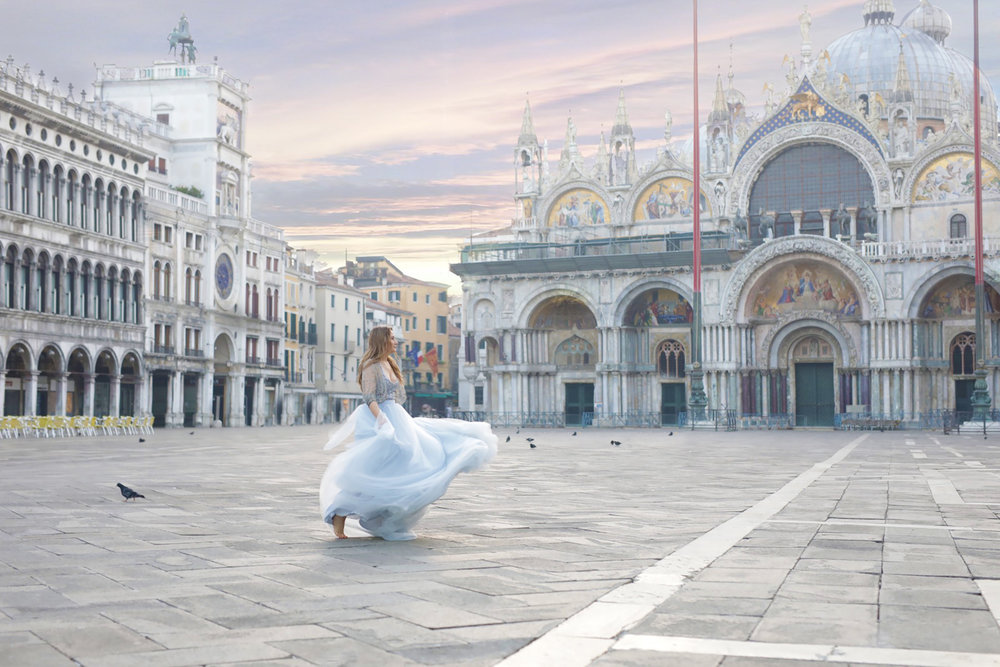 Lenka in San Marco Square, Venice, Italy 2018 at dawn