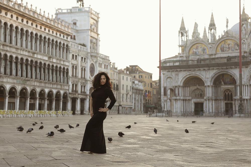 Rosaura in San Marco Square, Venice, Italy