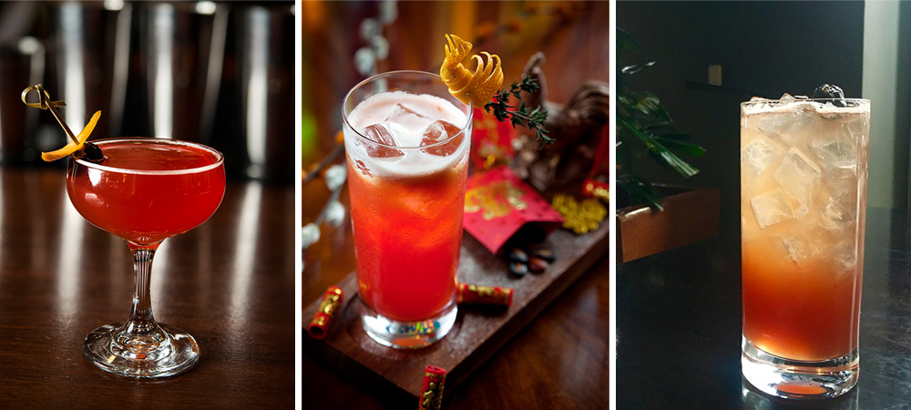 From left to right: The Red Rooster at Blue Ribbon Sushi Izakaya, Hong at Four Seasons Hotel Hong Kong, The Lucky Sling at Lucky Cat
