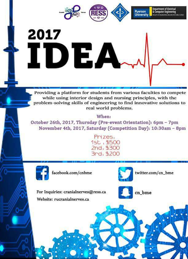 I.D.E.A. 2017 - Cranial Nerves is back again for their annual I.D.E.A. Interdisciplinary case competition, and will be partnering with Brampton Civic Hospital this year!This year, the competition aims to combine the expertise of students in the Interior Design, Nursing and Engineering fields to solve a prominent issue in the Healthcare Industry.The teams will work together to solve patient flow problems faced in the emergency department of Brampton Civic Hospital. This is one of the busiest hospitals in Ontario and we believe that Ryerson students deserve an opportunity to make a mark here.
