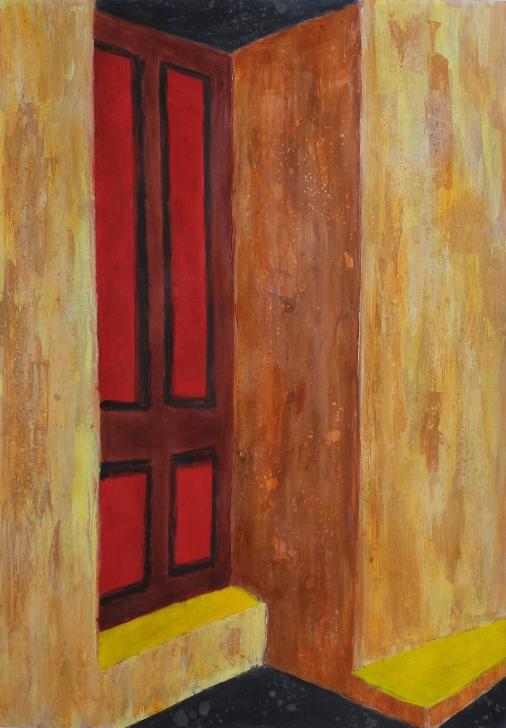 Presidio Door    In the oldest neighborhood in Tucson.  Painted from a B&W photo I made 15 years ago.  Acrylic on Arches 140lb Watercolor Paper, 30X23in