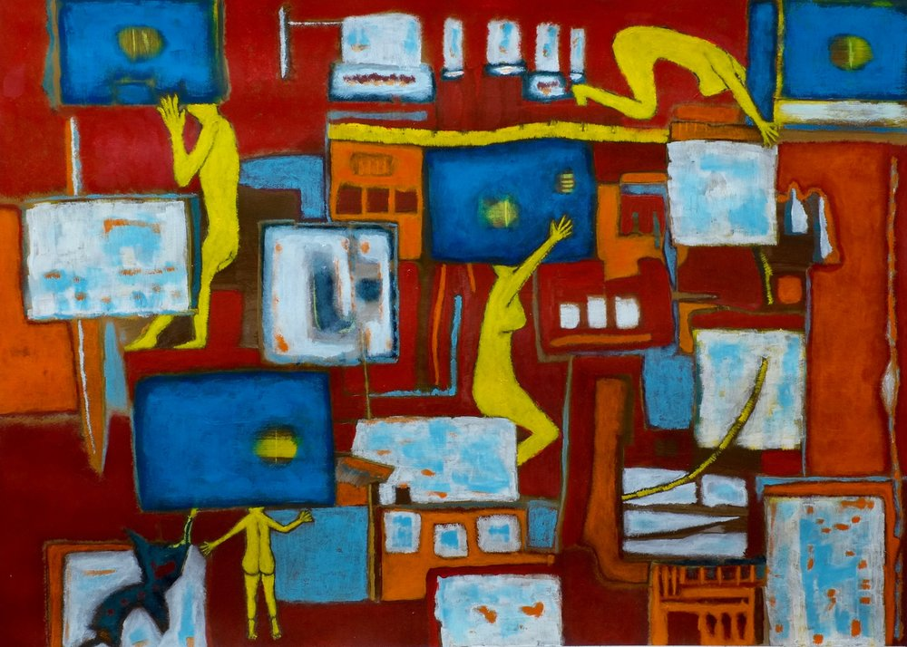 Too Many Televisions    Acrylic on Arches Watercolor Paper, 23X30 in