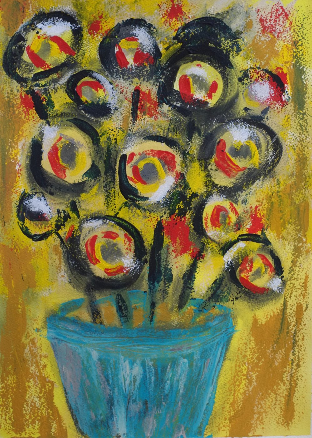 Fleur    Acrylic on Rough Watercolor Paper, 24X18in
