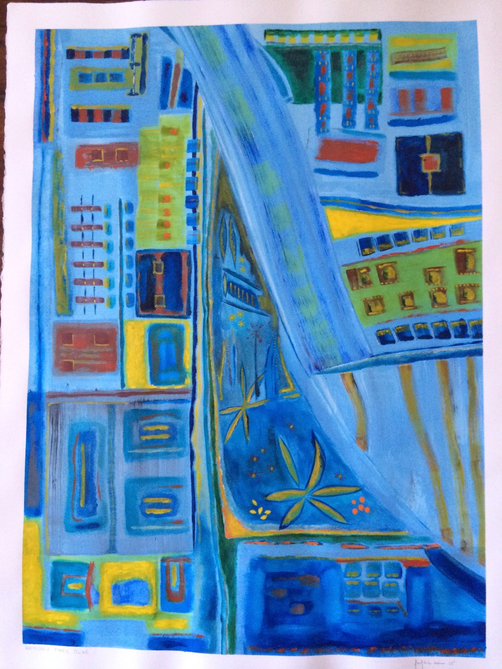Armory Park Blue   Acrylic on Watercolor Paper 30X23in (Sold)