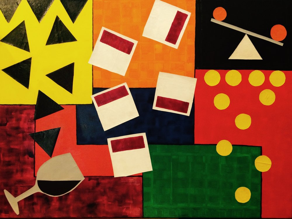 Out of Balance No.2    Acrylic and cut out paper on Canvas  30X40in (gone)