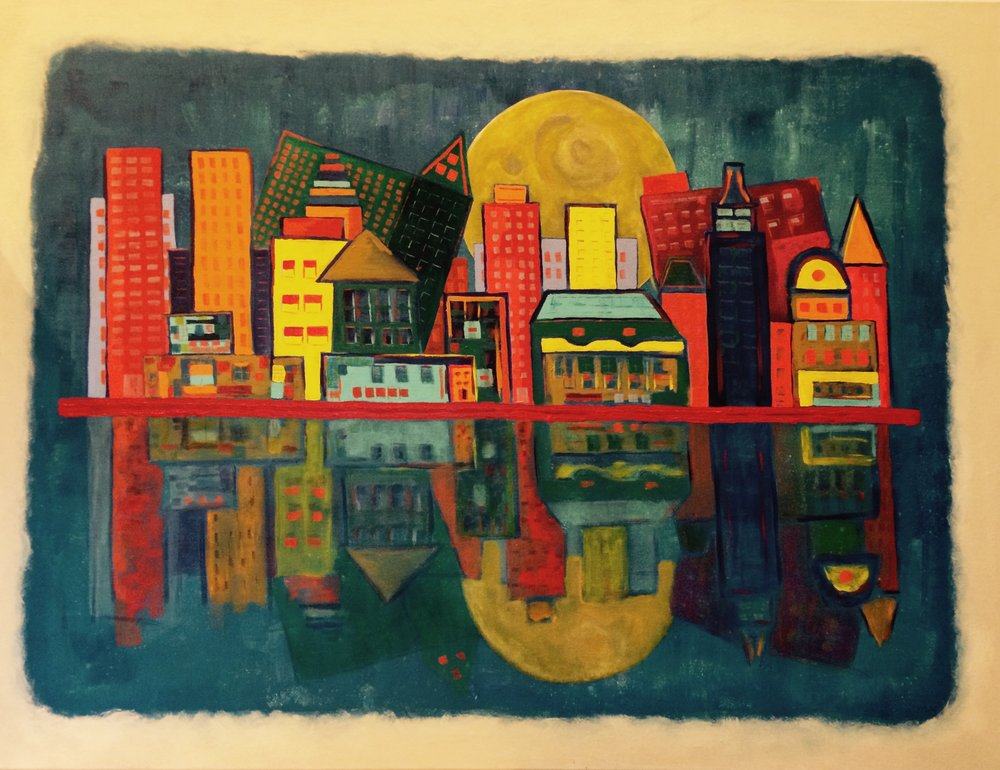 A City In Love With The Moon    Acrylic on Gallery Wrap Canvas  36X40in