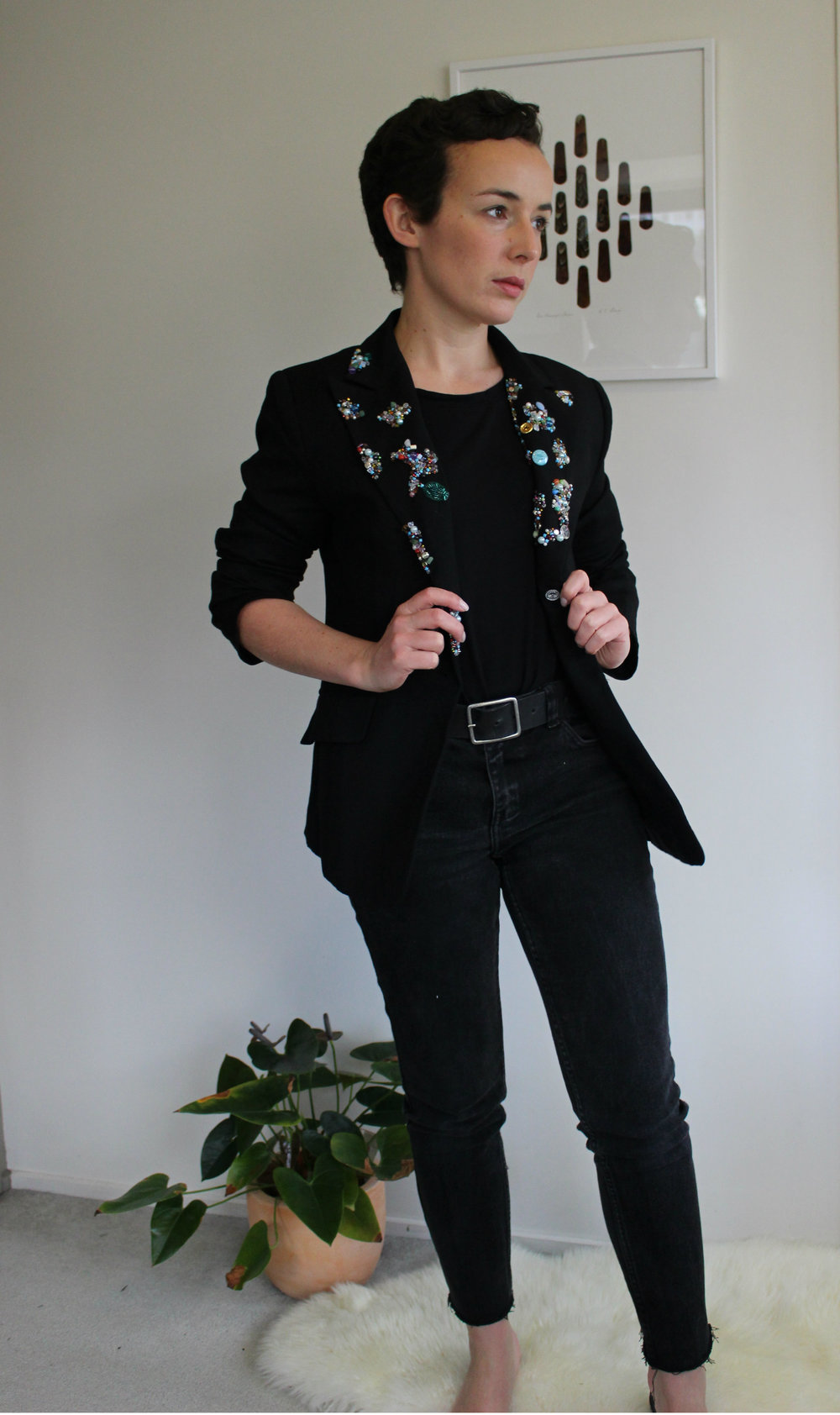 Blazer: MNG from a fave TradeMe seller, Jeans: customised Just Jeans from SaveMart.  Out of shot: Costume National mules kindly handed down to me