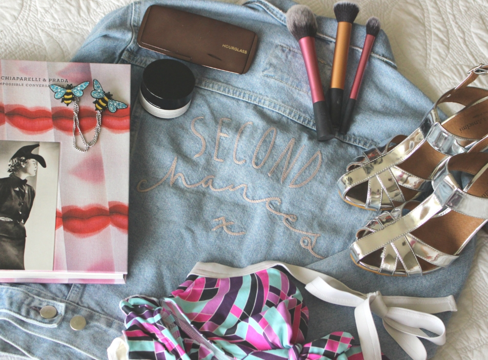A sampler of my online hits, including a bikini (that was an amazing day, when that actually fit) and some sparkly shoes that I waited for a sale on.