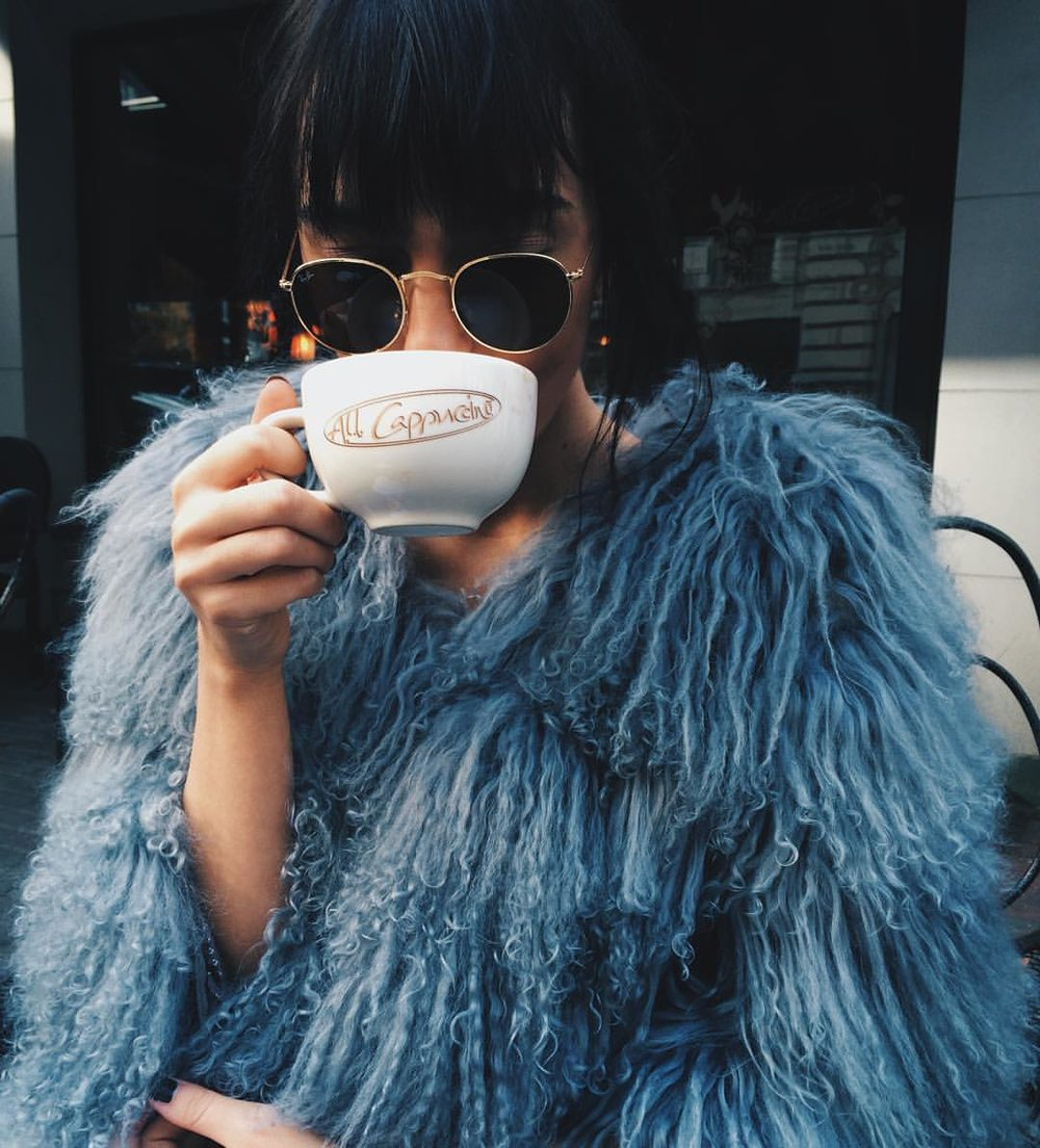 Two words: faux fur.  (Third word: coffee)