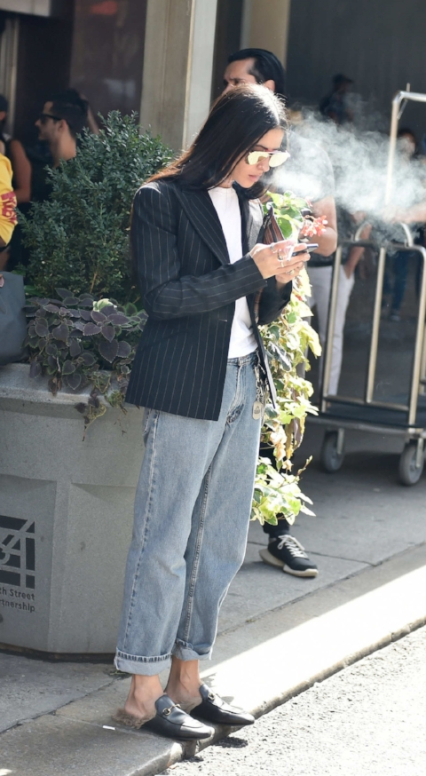 I do not recommend the cigarette as part of this look (or those Gucci loafers)