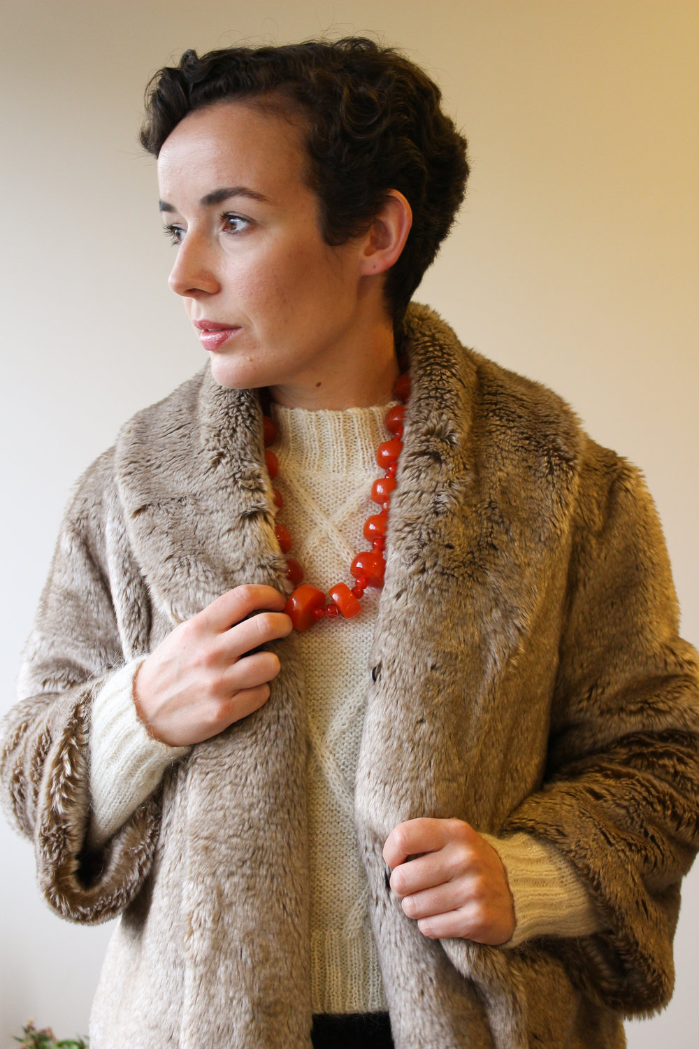 Faux fur from Billabong YEARS ago.  Necklace from Unearthed Vintage.