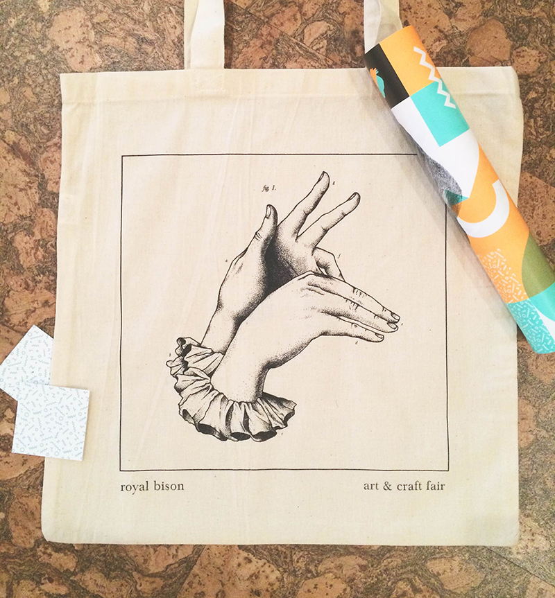Artist designed tote bags by Erin Greenough.