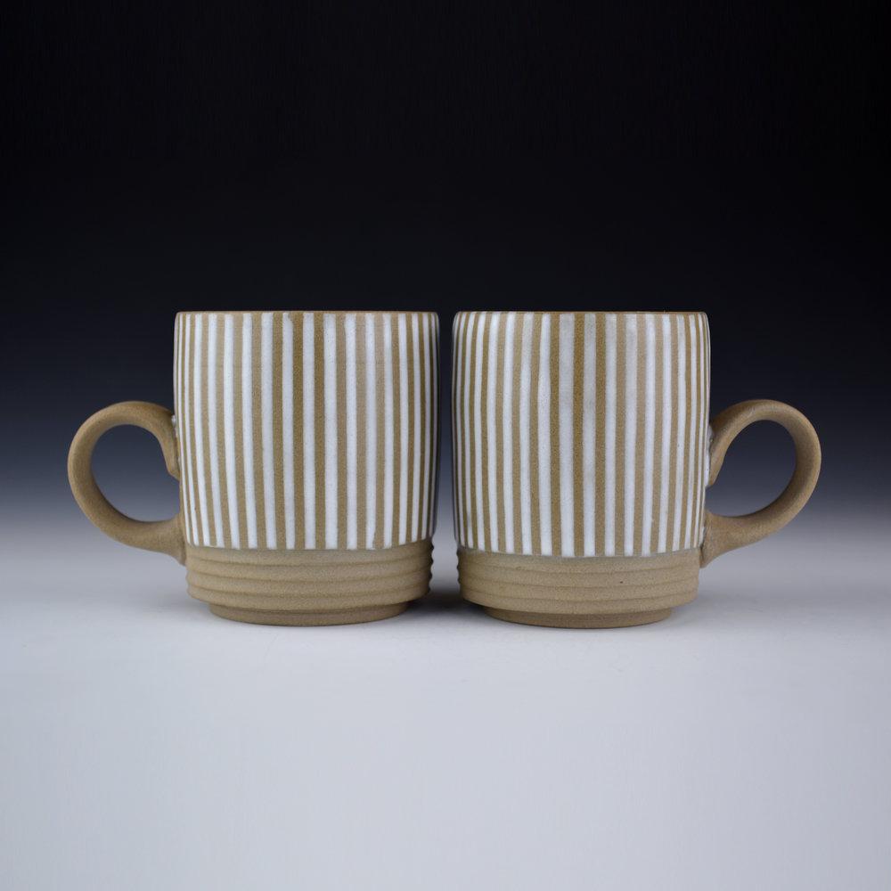 001 Mynthia McDaniel - Pinstripe Mugs, 2019, Stoneware, 8.5 x 3 x 4.5 in.jpg