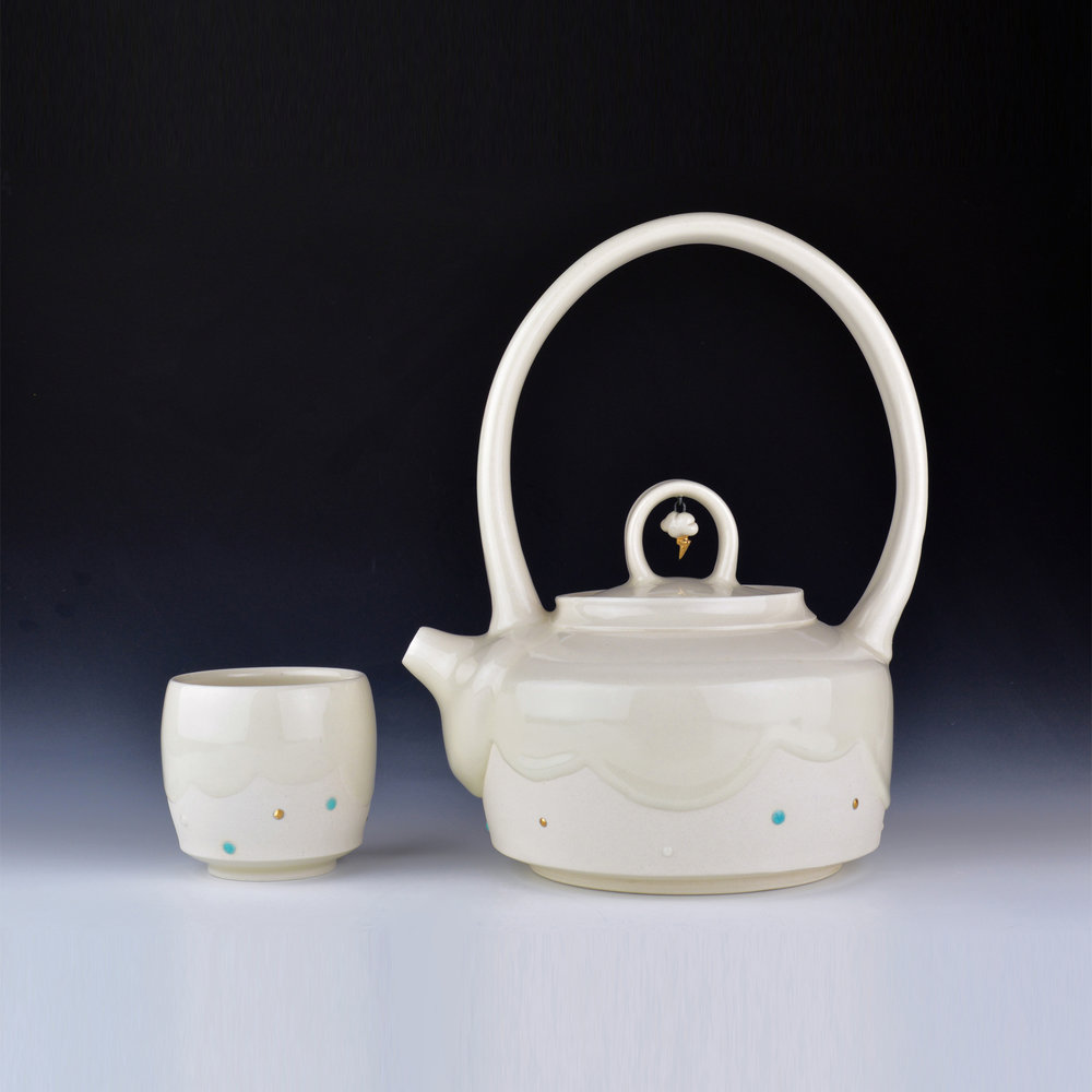 020 Mynthia McDaniel - Cloud and Lightning Bolt Teapot with Cup, 2018, Porcelain with wire and gold lustre, 10 x 6.5 x 8.5 in.jpg