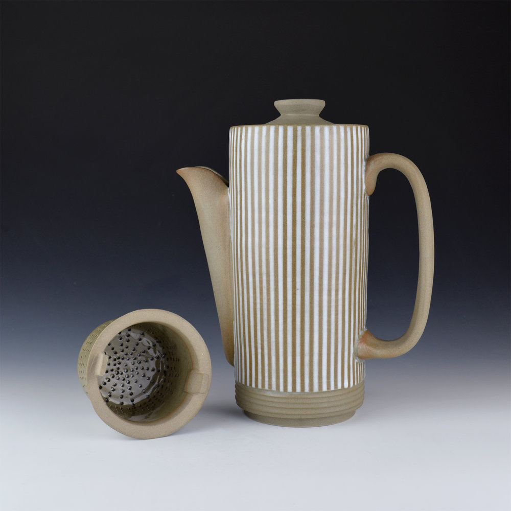 003 Mynthia McDaniel - Pinstripe Coffee Pot with Filter, 2019, Stoneware, 8 x 4 x 10 in.jpg