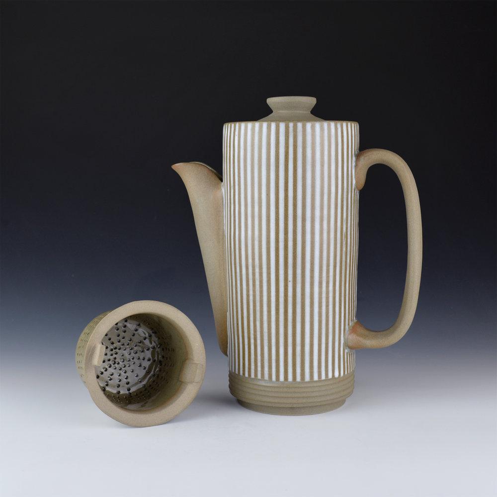 003 Mynthia McDaniel - Pinstripe Coffee Pot with Filter, 2019, Stoneware, 8 x 4 x 10 in.jpg