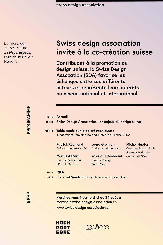 Speaker at the Swiss design association  at Hyperespace, Renens, 29.08.2018  Wie kann Design interdisziplinär agieren? Wie verstärken und verbessern wir den Austausch zwischen Herstellung und Design? Und wie überwinden wir die Sprachbarrieren und regionalen Unterschiede in unserem Land?