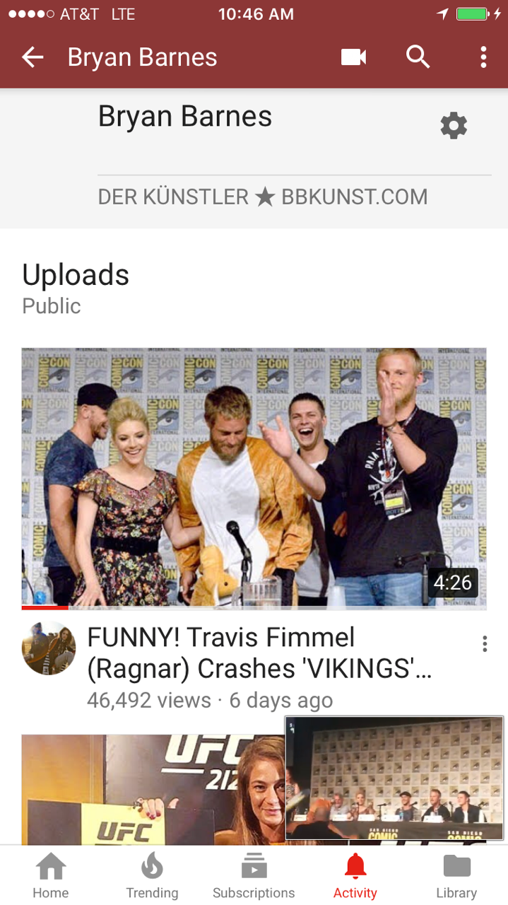 My 'VIKINGS' 2017 COMIC-CON panel video I shot has 46,000+ YouTube views already, WOW!!! LOVE the 'Vikings' cast - YouTube link:  https://youtu.be/YjX2VYTcBqQ