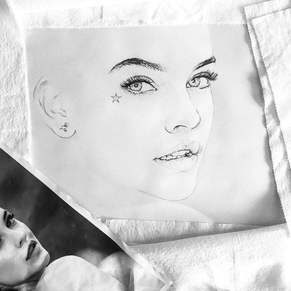 """STAR-ba-RA"" (Star + Barbara + Sun God RA)  Pencil drawing work in progress. bbkunst.com"