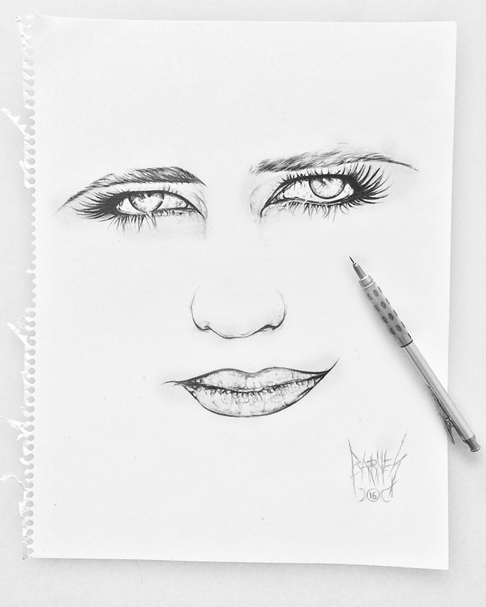 Eye am drawn to the fact that I only have eyes for EVA more.  Pencil art by Bryan Barnes
