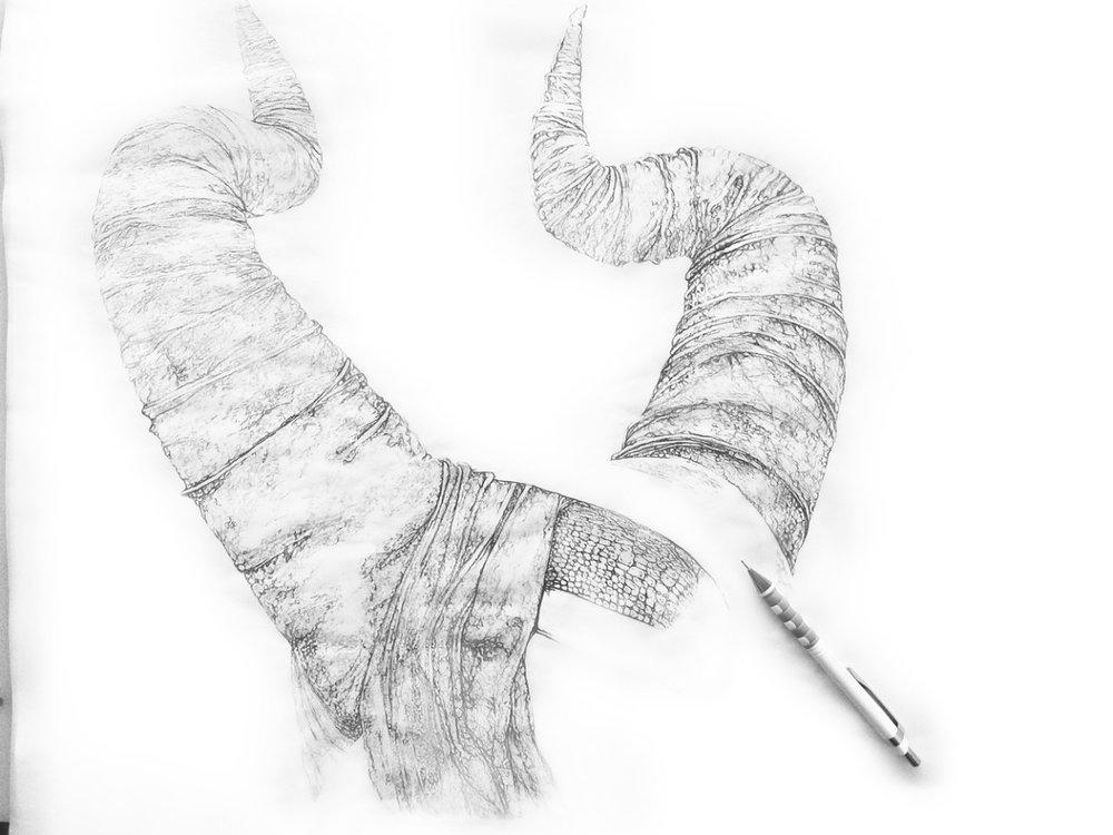 """HORNS of AQUARIUS"" ♒ WIP pencil drawing by Artist Bryan Barnes"