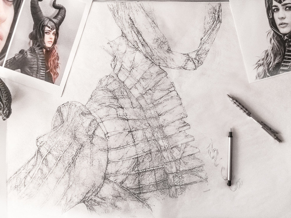 """WIP""""Pagan Princess"""" Pencil Art by Artist + Art Director Bryan Barnes, finished drawing pencil size [once complete] will be nearly 24″x36″ w/ custom built gothic-esque white mammoth sized frame. Happy Litha 6/20/2016 to you all midsummer [summer solstice] lovers!"""