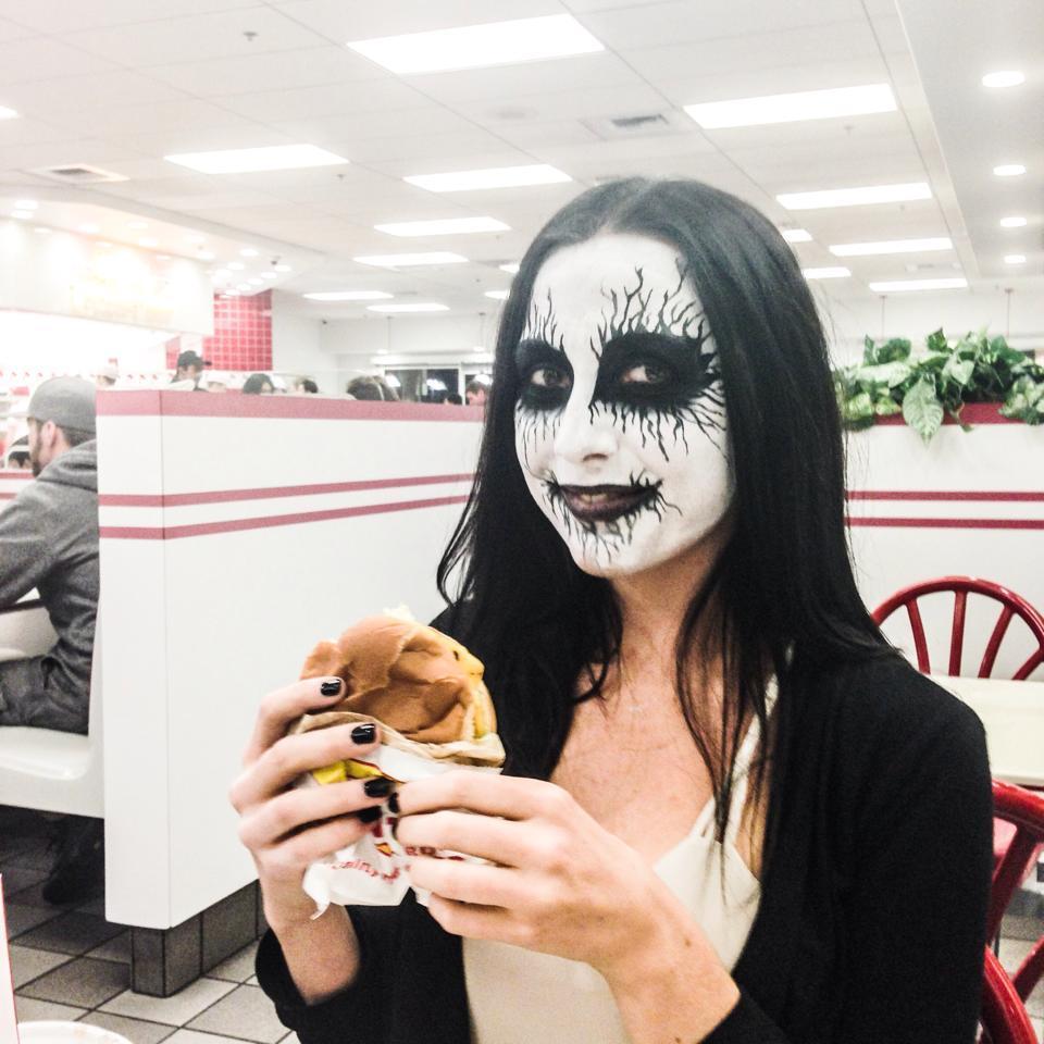 "bryanbarnesart :      bryan-barnes :     Photographer:  Bryan Barnes  Model: Amanda Shot in In-N-Out [Orange County, California]  April 2014       The ""CHEESE-US CHRIST"" burger at In-N-Out! † Muwhahaha"
