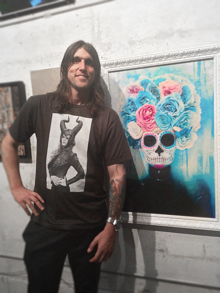 """Myself and my artwork   """"La Reina Nieve de los Muertos""""   at the Antebellum Gallery in Hollywood, CA for the Haunted House opening night exhibit reception. :)"""
