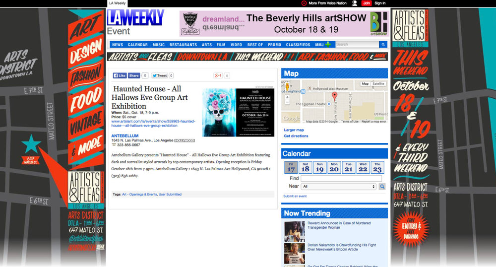 MORE PRESS from LA WEEKLY   [laweekly.com]  for my art exhibit [with HR GIGER and other amazing artists] this SATURDAY OCTOBER 18th 7-9pm at Antebellum Gallery in Hollywood, CA! Hope to see you there! :)       http://www.laweekly.com/los-angeles/haunted-house-all-hallows-eve-group-art-exhibition/Event?oid=5135825       http://www.artslant.com/la/events/show/359963-haunted-house—all-hallows-eve-group-exhibition