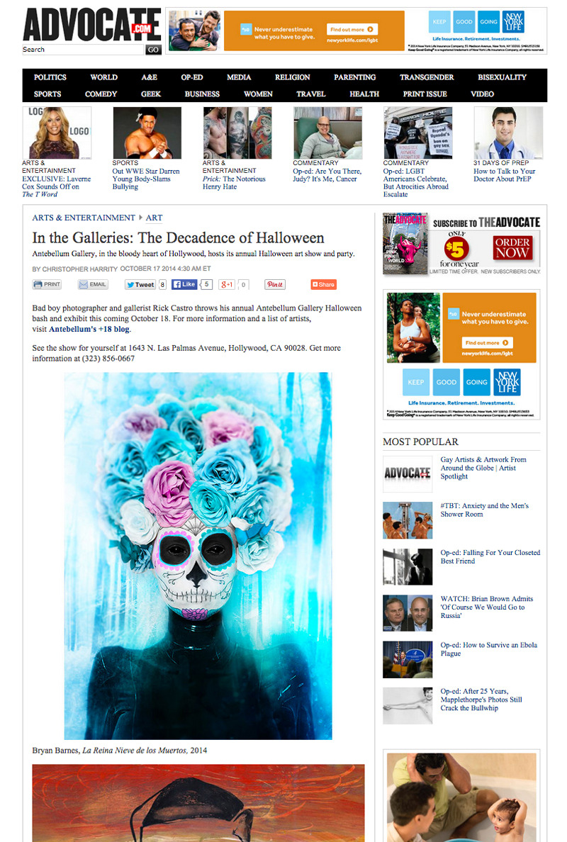 "http://www.advocate.com/arts-entertainment/art/2014/10/17/galleries-decadence-halloween       PRESS time! [my ""La Reina Nieve de los Muertos"" artwork featured ] Amazing 'Haunted House' art exhibit opening reception Saturday 7-9pm at the Antebellum Gallery in Hollywood, CA. Hope to see you there! :)"