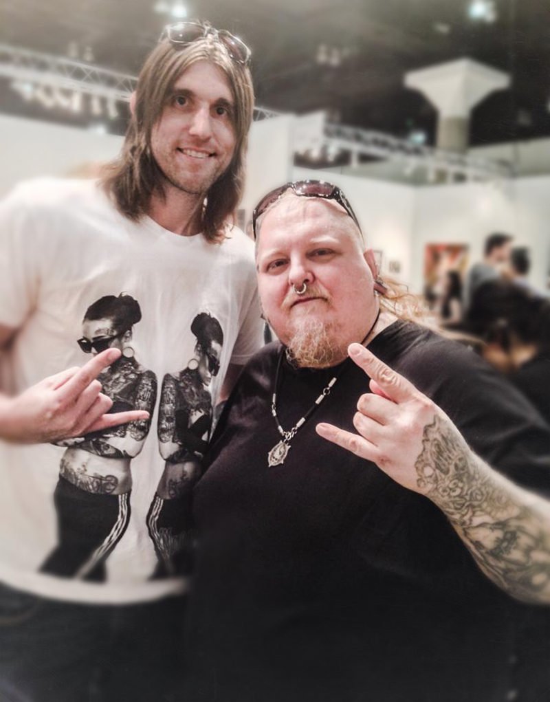Artists Bryan Barnes and Paul Booth at the LA Art Show, 2014