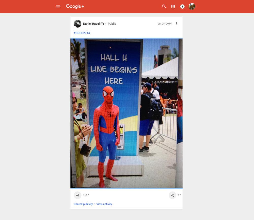 Entertainment_Actor_Daniel-Radcliffe_GOOGLE_+_PLUS_account_photo_COMIC_CON_comic-con_2014_Marvel_Spider-Man_Art_Director_Designer_Bryan_Barnes.jpg